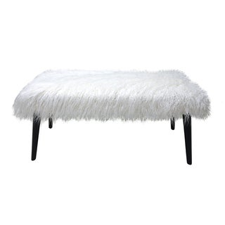 Homepop Faux Fur White Rectangle Bench Free Shipping