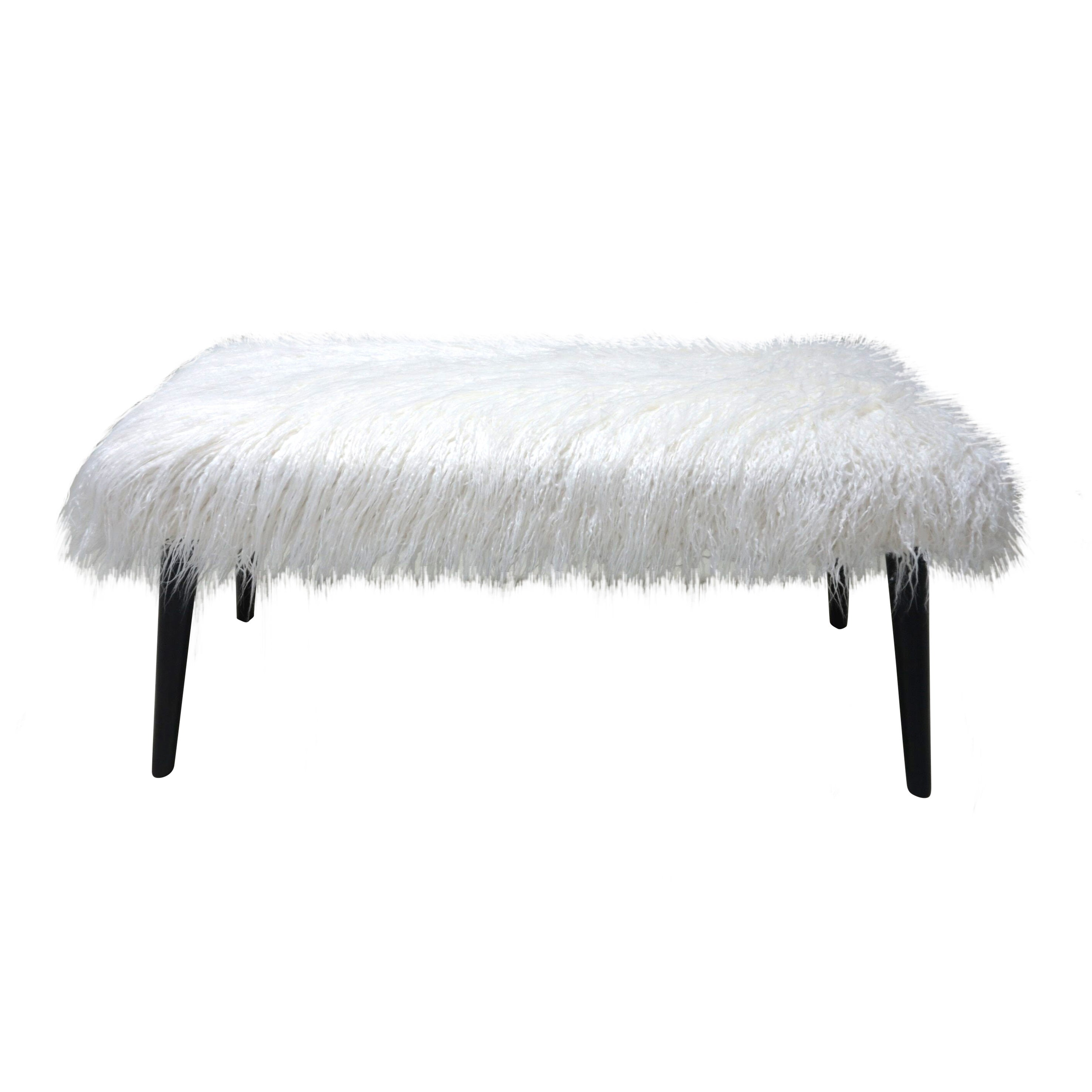 Groovy White Faux Fur Bench With Black Legs Squirreltailoven Fun Painted Chair Ideas Images Squirreltailovenorg