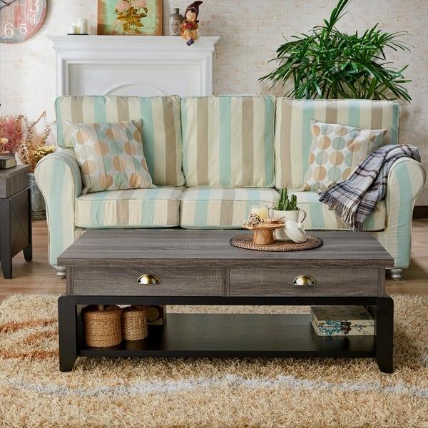 Distressed Grey Coffee Table: Shop Furniture Of America Ezara Modern Distressed Grey