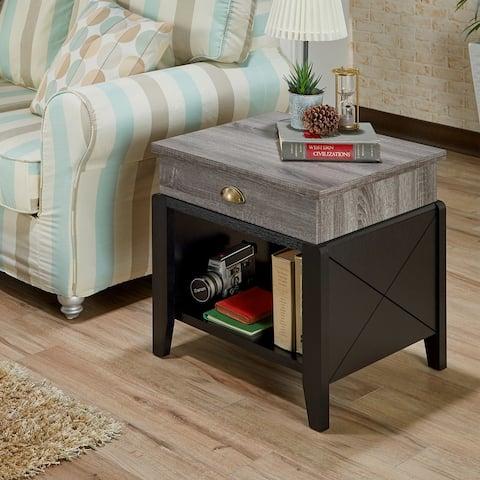 Furniture of America Kaza Modern Grey 1-drawer Rectangle End Table