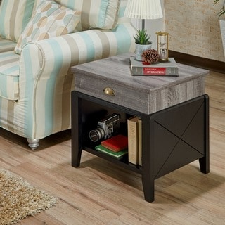 Furniture of America Kaza Modern Grey 1-drawer Rectangle End Table