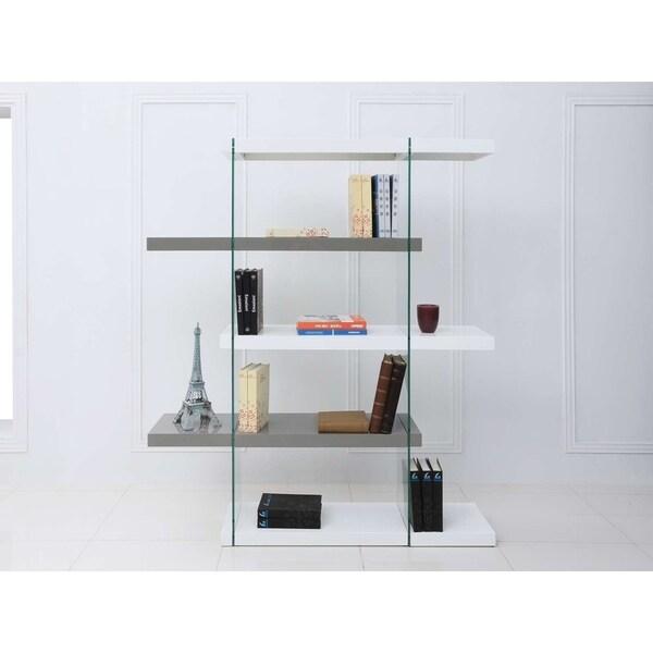 Shop IL VETRO High Gloss White/Gray Lacquer Bookcase By