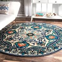 nuLOOM Modern Persian Printed Floral Blue Round Rug (6' Round) - 6' Round