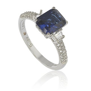 Suzy Levian Sterling Silver Sapphire & Diamond Accent 3cttw Emerald Cut Bridal Ring - Blue (More options available)