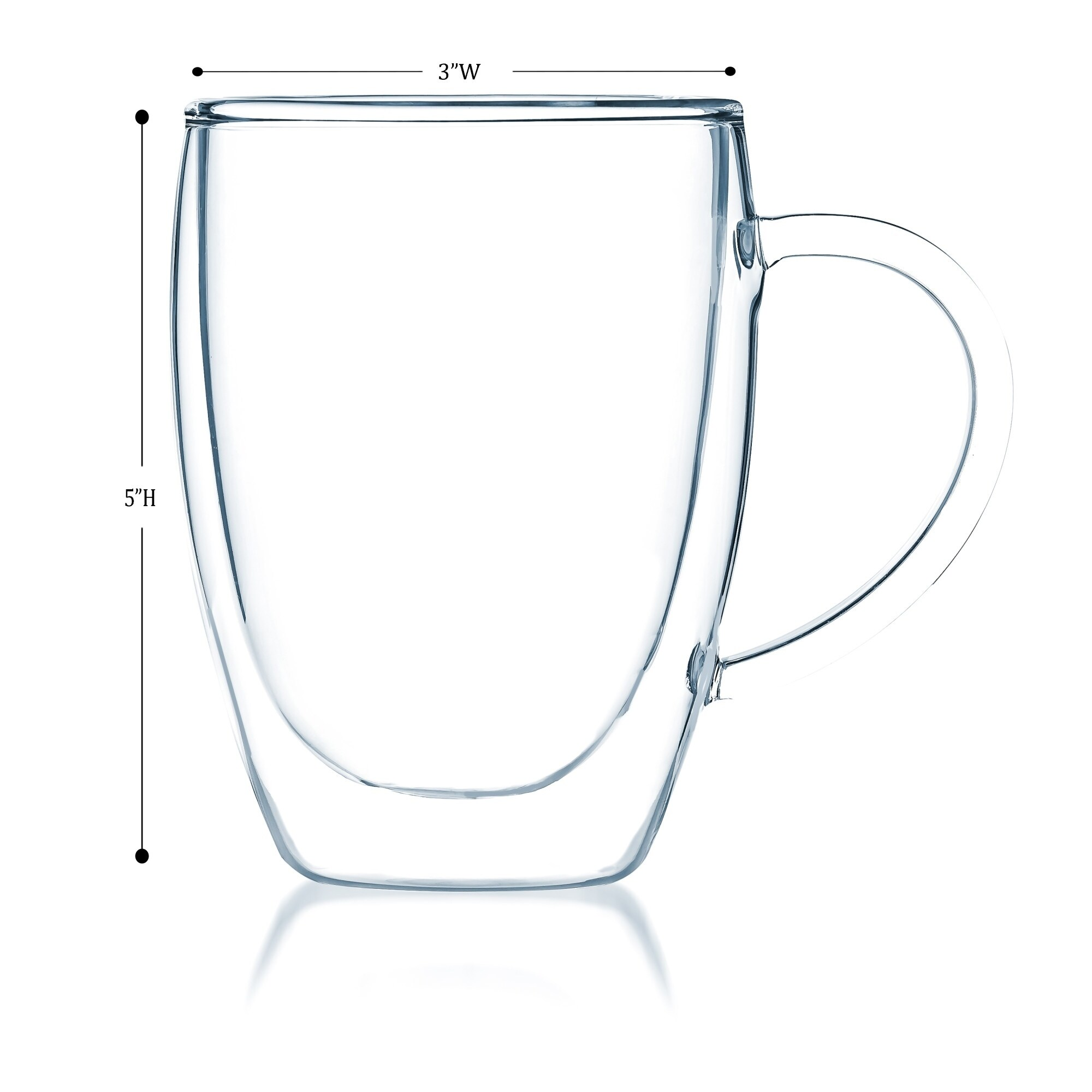 Double Wall Glass Coffee mugs Insulated Thermo Glass Bistro Cup from JavaFly Set of 4-8 Ounce.