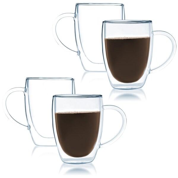 f4b21587cbd JavaFly Bistro Double Walled Thermo Borosilicate Glass Elegant Mugs with  Handle 12 oz (Set of
