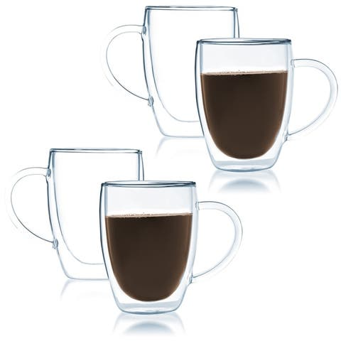 JavaFly Bistro Double Walled Thermo Borosilicate Glass Elegant Mugs with Handle 12 oz (Set of 4)