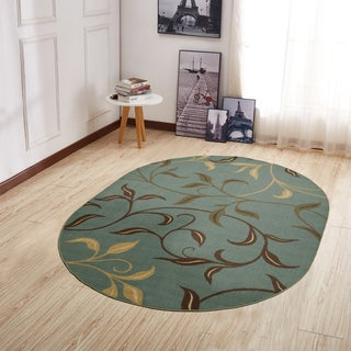 Ottomanson Home Collection Modern Leaves Design Oval Area Rug (5' X 7')