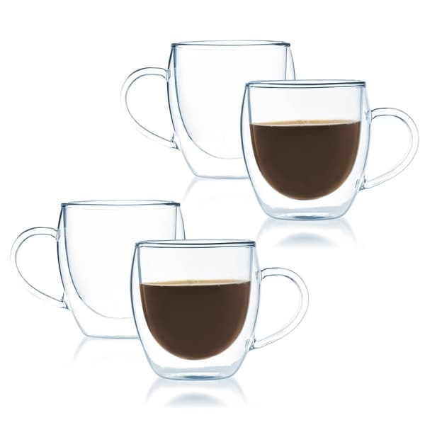 JavaFly Bistro Double Walled Thermo Borosilicate Glass Elegant Mugs with Handle 8 oz (Set of 4)