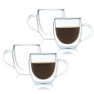 JavaFly Bistro Double Walled Thermo Borosilicate Glass Elegant Mugs with Handle (Set of 2)