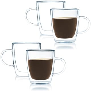 JavaFly Double-Walled Heat Resistant Borosilicate Glass Mugs 8 oz (Set of 4 Mugs)