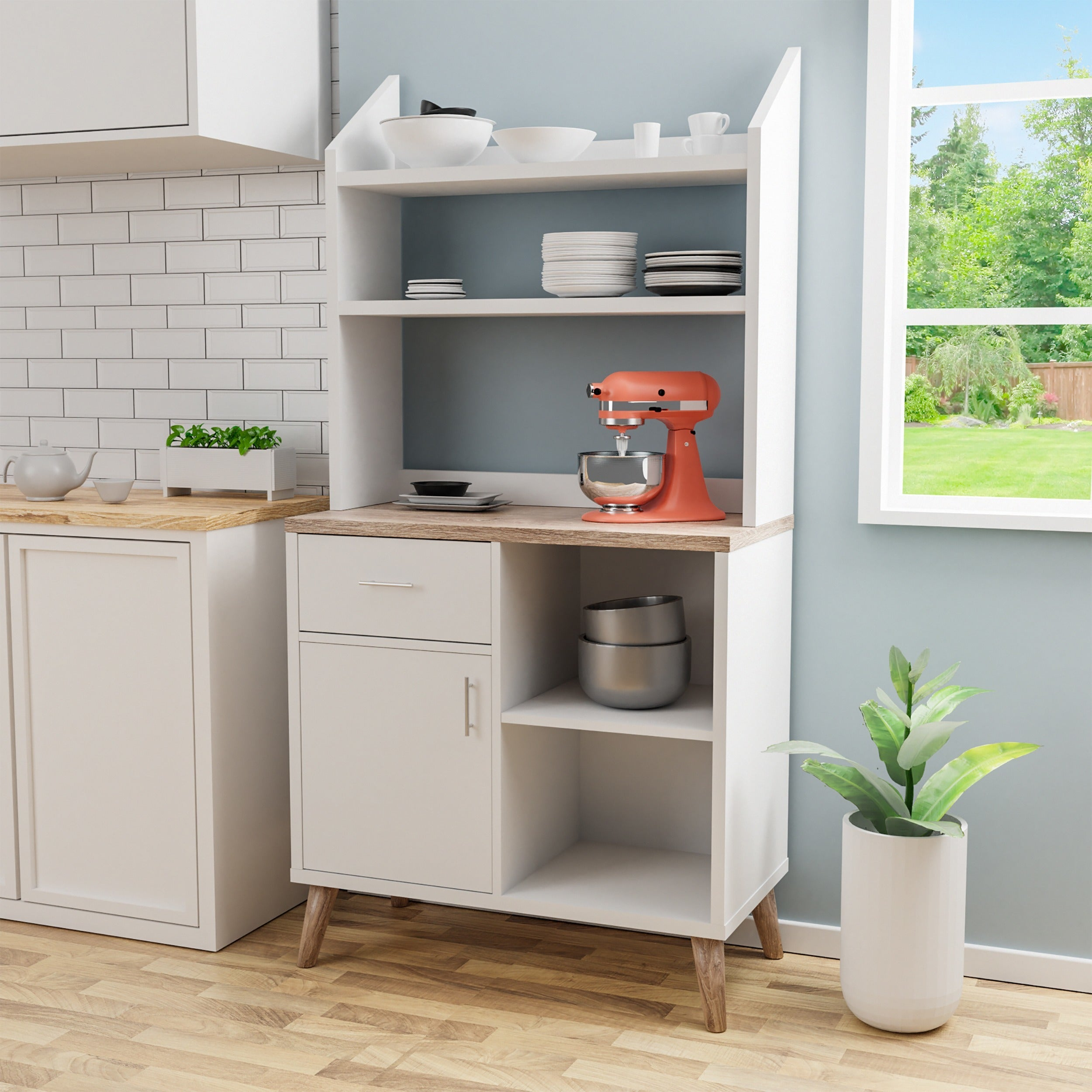 Details About Kitchen Storage Cabinet White Pantry Two Tone Shelving Drawer Organizer Display