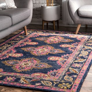 nuLOOM Navy Handmade Contemporary Floral Medallion Wool Area Rug