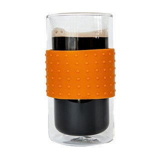JavaFly Rubber Grip Elegant Heat Resistant Borosilicate Glass Mugs with a Colored Silicon Band 12oz