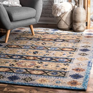 nuLOOM Handmade Contemporary Abstract Tribal Wool Blue Rug (7'6 x 9'6)