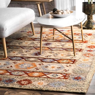 nuLOOM Handmade Contemporary Abstract Tribal Wool Beige Rug (7'6 x 9'6)