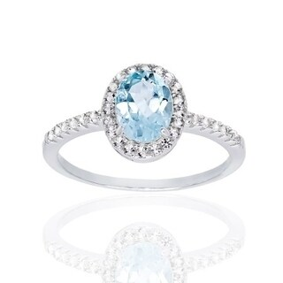 1 Carat Sky Blue Topaz with Pave Halo Sterling Silver Ring