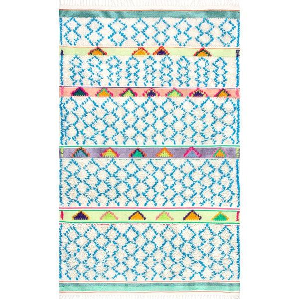 Nu Loom Soft And Plush Handmade Moroccan Trellis Tassel Shag Rug by Nuloom