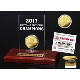 Alabama 2017 Football National Champions Gold Coin Etched Acrylic - Multi-color