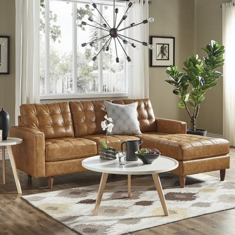 odin caramel leather gel sofa sectional with chaise by inspire q modern - Sectional With Chaise