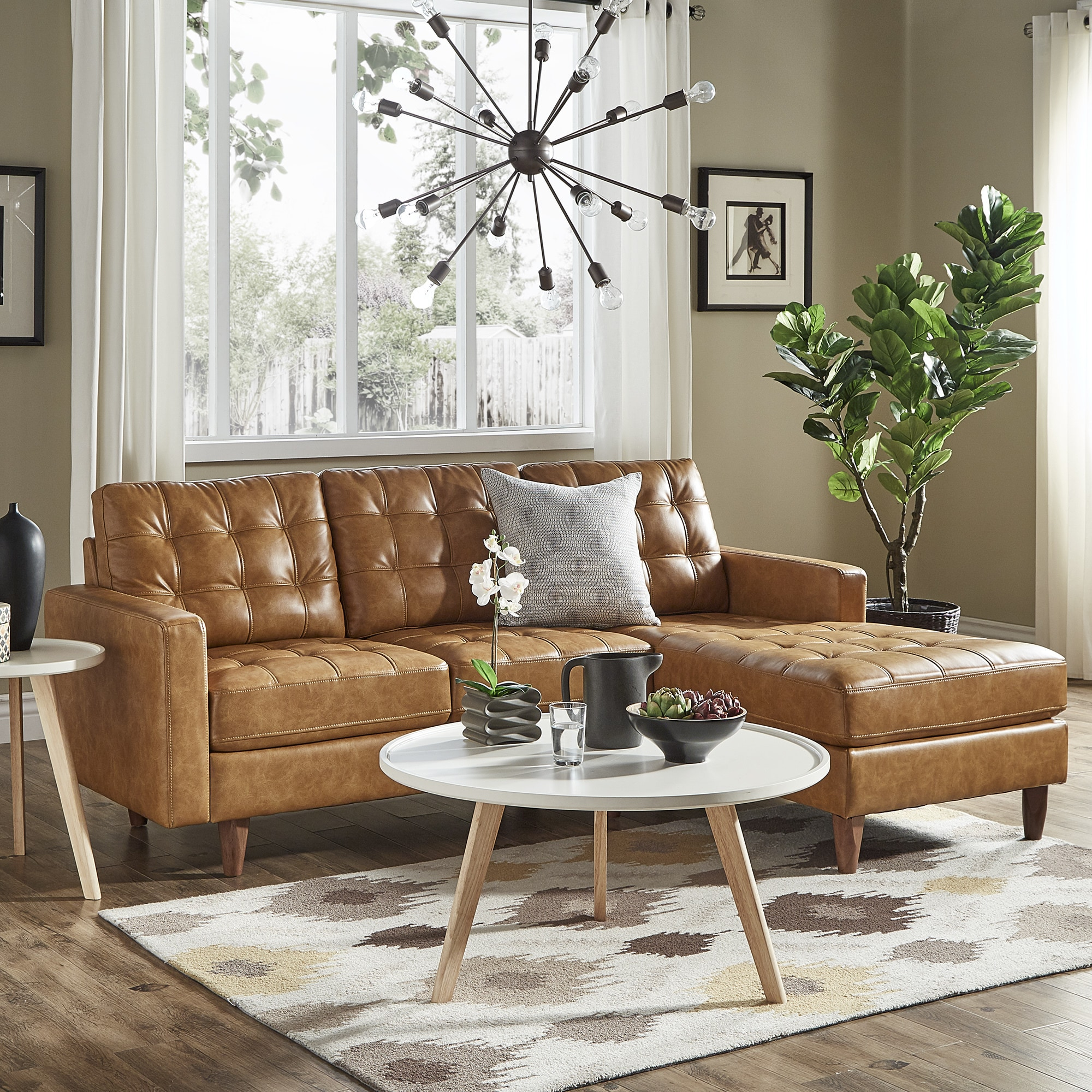 Enjoyable Odin Caramel Leather Gel Sofa Sectional With Chaise By Inspire Q Modern Machost Co Dining Chair Design Ideas Machostcouk
