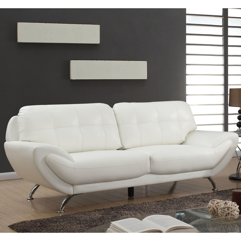Furniture of America Aliv Contemporary Faux Leather Tufted Sofa
