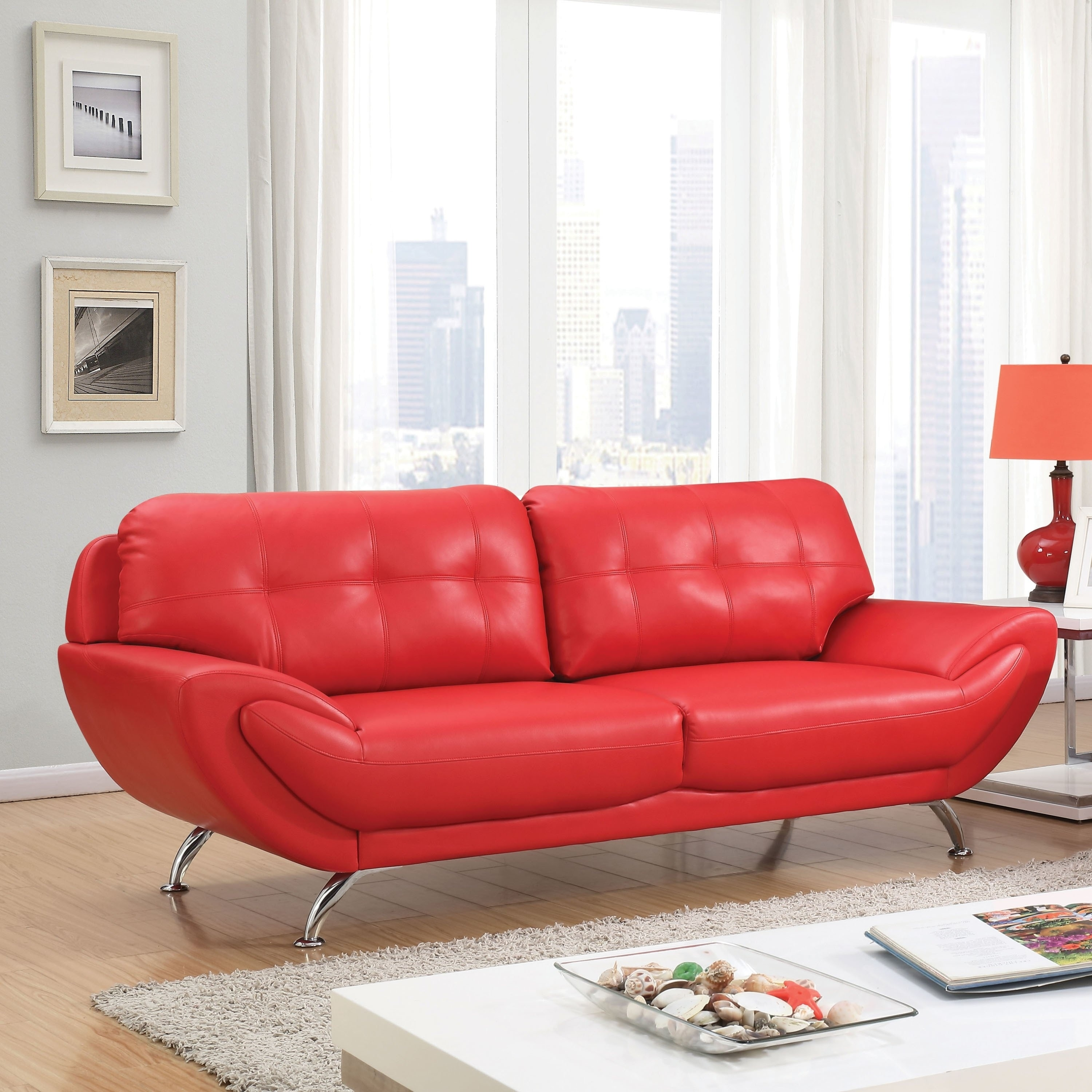 Furniture of America Aliv Contemporary Faux Leather Tufted Sofa