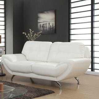 Furniture of America Ellis Contemporary Breathable Bonded Leather Loveseat (3 options available)
