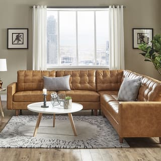 Odin Caramel Leather Gel L Shape Sectional By Inspire Q Modern