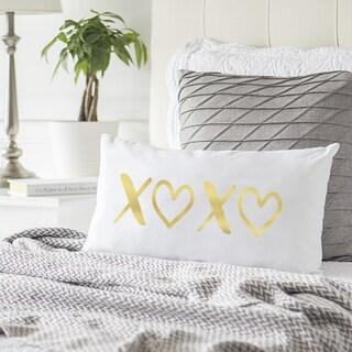 Gold Foil XOXO Lumbar Pillow
