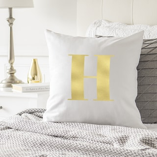 "Personalized Gold Foil Initial 16"" Throw Pillow"