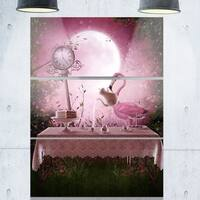 Fantasy Garden with a Flamingo - Modern Landscape Glossy Metal Wall Art - 36Wx28H