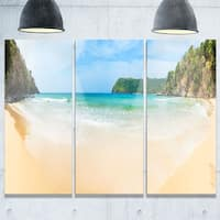 Exotic Vacation Seashore Panorama - Modern Seascape Metal Wall At - 36Wx28H