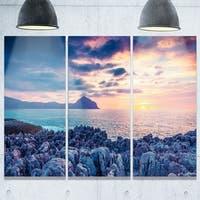 Designart - Spring Sunset Over Monte Cofano - Landscape Photo Glossy Metal Wall Art