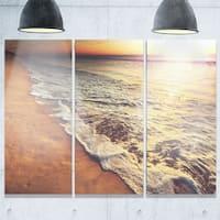 Designart - Foaming Waves at Sea Sunset - Modern Beach Glossy Metal Wall Art