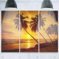 Designart - Beach Sunset in Island Barbados - Modern Seascape Glossy Metal Wall Art