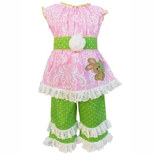 AnnLoren Girls Damask & Dots Pastel Easter Bunny Tunic & Capri Set