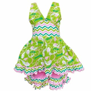 AnnLoren Girls Pink & Green Ocean Mermaids Halter Top & Shorts Outfit (More options available)
