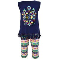AnnLoren Girls Boutique Tribal Fringe Tunic and Capri Leggings Outfit