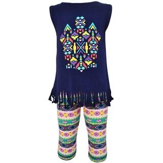AnnLoren Girls Boutique Tribal Fringe Tunic and Capri Leggings Outfit