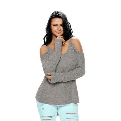 V Neck Loose Fit Cold Shoulder Sweater