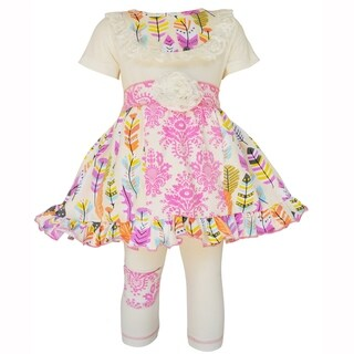 AnnLoren Girls Pink Feather & Damask Panel Dress and Capri Outfit