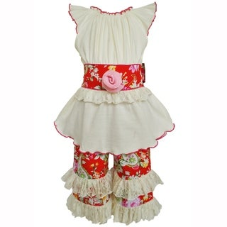 AnnLoren Girls Boutique Red & Pink Floral Tunic & Capri Clothing Set