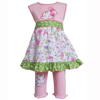 AnnLoren Girls Pink Easter Bunny Floral Dress and Capri Outfit