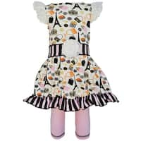 AnnLoren Paris Eiffel Tower Girls Dress & Stripe Legging Outfit
