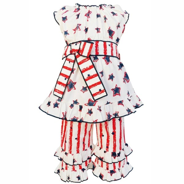 AnnLoren Girls 4th of July Stars and Stripes Tunic and Capri Outfit 2 Piece Set