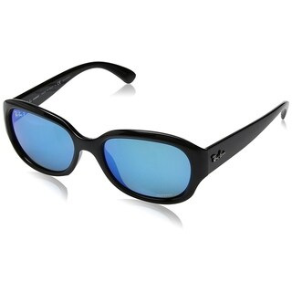 Ray-Ban Women's RB4282CH Black Frame Polarized Blue Mirror Chromance 55mm Lens Sunglasses
