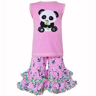 AnnLoren Girls Boutique Cotton Knit Pink Panda Tunic & Capri Outfit