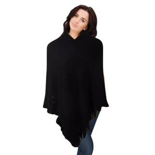 Hooded Knit Poncho with Fringe (3 options available)