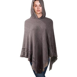 Hooded Knit Poncho with Fringe (Option: Grey)